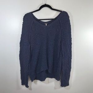 Free People Navy Slouchy V-Neck Sweater
